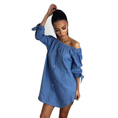 Gotd Women Strapless Long Sleeve Loose Denim Dress (M, Blue)