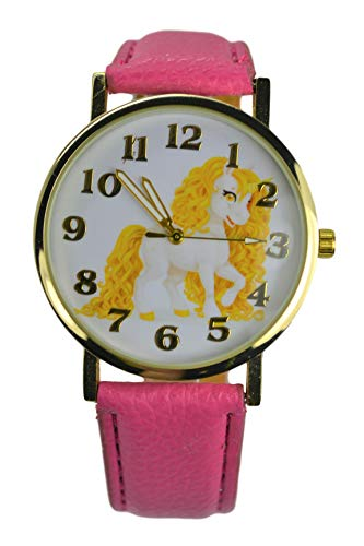 Lucky Yellow Unicorn Watch for Women. Large Analog Display.Glowing Hands. (Gold) (Watch Gold Girls)