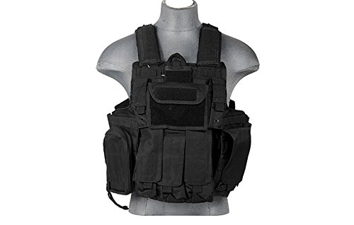 LT 303B MOLLE PALS Military Training Hunting Gaming Vest with Web Modular System Black Fit Small Medium Large Sizes by Lancer Tactical