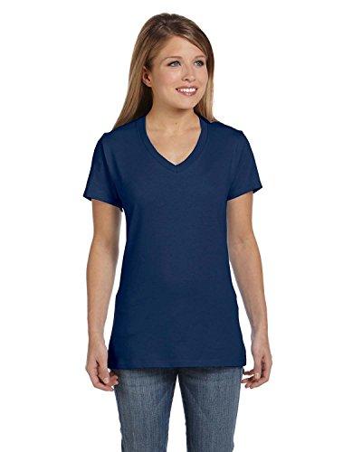 (Hanes Women's Nano- V-Neck T-Shirt Vintage Navy Large)