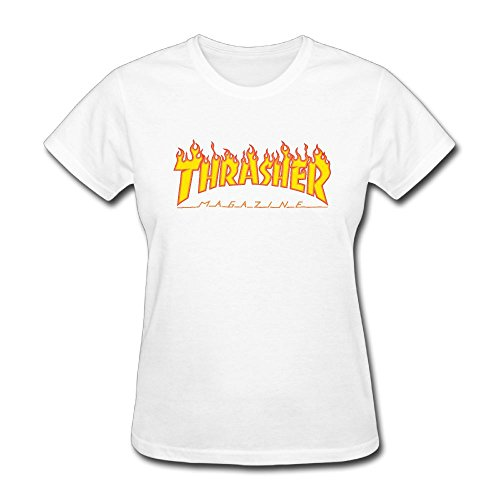 ASKKEEEN Womens Thrasher Flame Logonarrow Coverseamed Neck Short Sleeve (Coverseamed White Neck T-shirt)