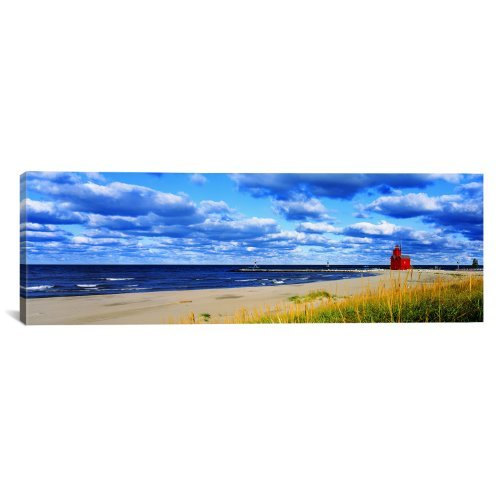 iCanvasART Big Red Lighthouse Holland, Michigan, USA by Panoramic Images Canvas Art Print, 36 by 12-Inch