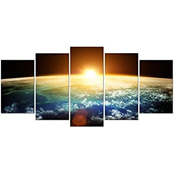 Pyradecor The Earth 5 Panels Modern Landscape Artwork Giclee Canvas Prints  Space Pictures Paintings On Stretched