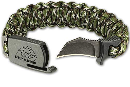 Outdoor Edge ParaClaw Camo Medium, PCC-80C, Paracord Survival Bracelet with 1.5 Inch Knife Blade, Camo, Medium Size