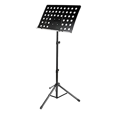 Lantusi Professional Deluxe Conductor Music Stand Black Adjustable Folding Sheet/Book Tripod Holder for Orchestra with Two Carrying (Light Wit Stand)