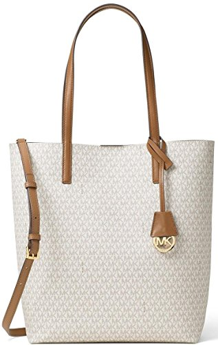 MICHAEL Michael Kors Womens Hayley Leather Convertible Tote Handbag Beige Large by Michael Kors