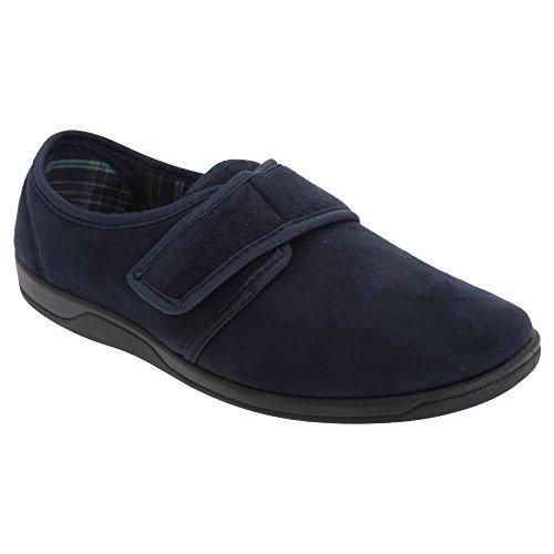 Zedzzz - Zapatillas de estar casa de ante de imitacion y cierre velcro Modelo Tom hombre caballero Azul real