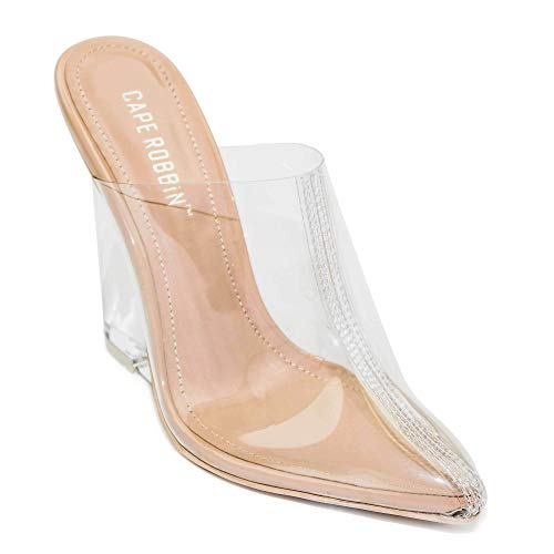 f71312c7dfb Cape Robbin Women s Sugar Transparent Lucite Clear Wedge Heel PVC Closed Toe  Slip On Mules