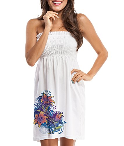 Del Sol Color-Changing Women's Smocked Beach Cover-up - Lily Splash (2X-Large)