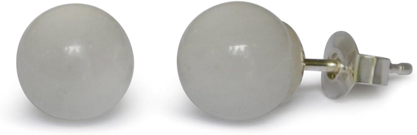 Pendientes de jade, jade natural, blanco, esférico, 12mm, plata de ley 925