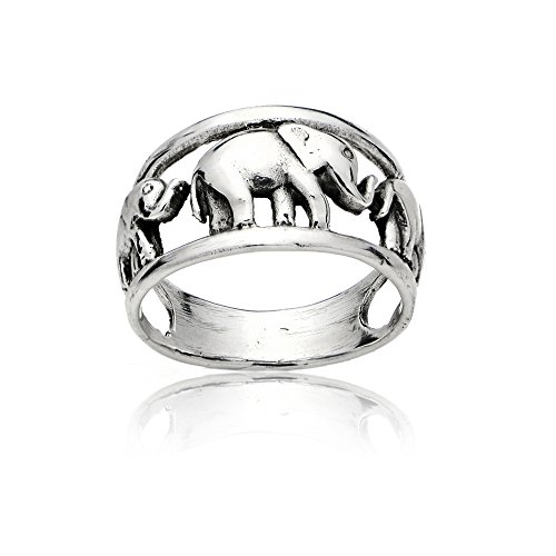 Sterling Silver High Polished Animal Elephant Family Ring, Size 9 (Elephant Sale For Rings)