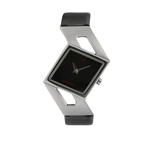 Fastrack Women's Fashion-Casual Analog Watch-Quartz Mineral Dial - Multifunction -Black Leather Strap
