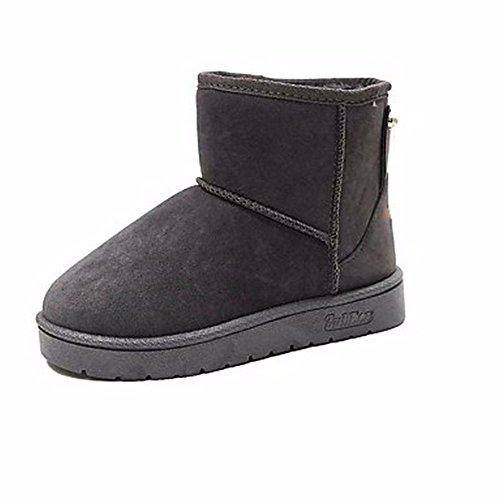 Plat us8 Chaussures Cn40 gris 5 Gris Noir Une Zhudj Talon Bottes 5 Partie D'hiver Pour amp; Bout Rose Femmes Uk6 Soir Rouge Neige Eu39 Rond 0wxxCHqd
