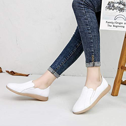 77929d1be Casual 2019 Cubierta Para Y zapatillas Yan Negro Blanco Nuevo Calzado Slip  Mujer Caminar Conducción Zapatos Mocasines Bajos Beige white 38 ons De Cuero  ...