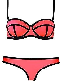 Blidece Womens Sexy 2PCS Structured Bright Wet Suit Neoprene Swimsuit