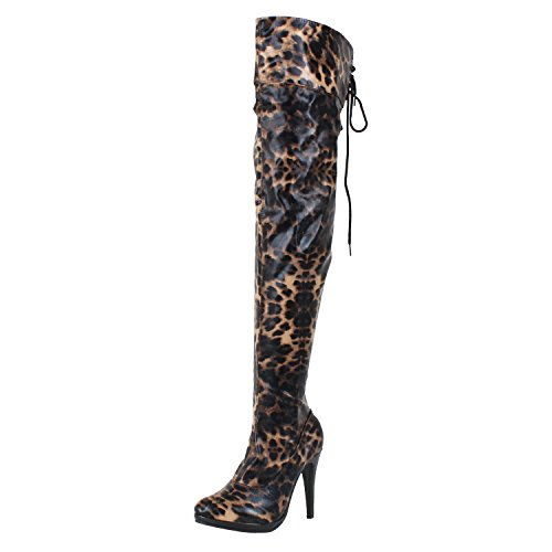 Womens Sexy Leopard High Heel Pointy Toe Fashion Stretchy Thigh High Boots, Leopard, - Heel Shoes High Pointy