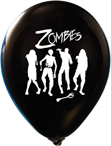 Zombies Balloons - Black | Colorful Latex Balloons (20-Count) Happy Birthday Party or Event Use | Fill with Air or Helium | -