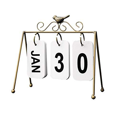 DIY Iron Bird Page Flip Calendar Decoration Crafts Wooden Perpetual Calendar Home Decoration Accessories Modern,Gold