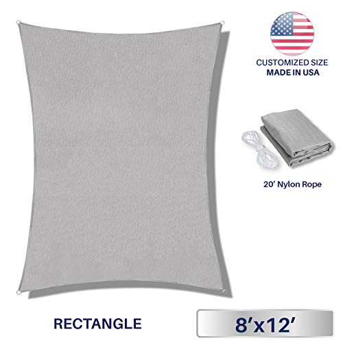 Windscreen4less 8 x 12 Rectangle Sun Shade Sail – Solid Light Grey Durable UV Shelter Canopy for Patio Outdoor Backyard – Custom