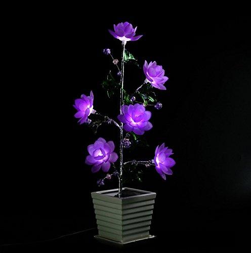 Deluxe Sakura Cherry Blossom LED Flower Tree Light,Sparkly 6 Head Imitated Crystal Bonsai Light with Vase, USB Romantic Flower Night Light Gift for Girl/Women/Girlfriend/Wife/Lover, Purple (Bonsai Lover)