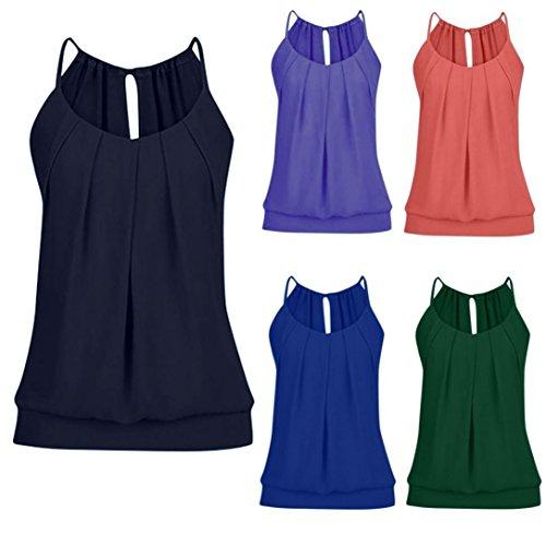 sanfashion Blouse Femmes Chic Top Vest Chic Bleu2 Été Tops Tee O Plissé Tank col Shirt Eté zwftxq5