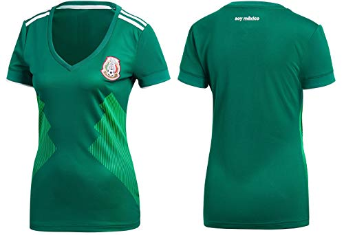 Rhinox Mexico Women's Soccer Jersey Home Short Sleeve Adult Sizes (M, Home) ()