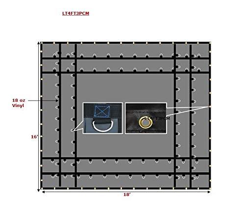 Mytee Products Heavy Duty 18 Oz Steel Tarp 16x18, 2 Rows D Ring - Black ()