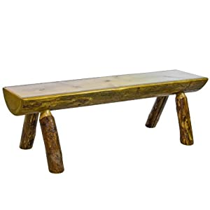 Montana Woodworks MWGCHLB5 Glacier Country Collection Half Log Bench, 5-Feet