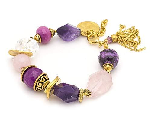 - Amethyst pink quartz purple jade gold tone metal chain tassel statement chunky bracelet, 10 in adjustable