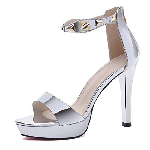 Farbe HWF Sexy Einfache Frau Silber Damenschuhe Sandalen Heels Stiletto 38 Sommer Größe 68dwS