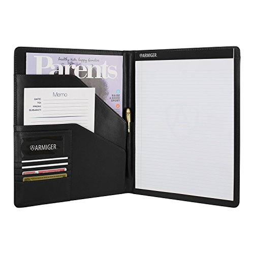 Armiger Executive Bonded Leather Professional Pad Folio with Letter Size Notepad - Black