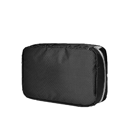 Ysiop Solid Nylon Travel Toiletry Bag Waterproof Cosmetic Pouch Portable Makeup Storage Bag Black (Flapper Makeup Kit)