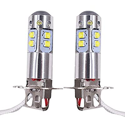 2pcs H3 6000K Super White 100W High Power LED Fog Light Driving Bulb DRL: Automotive