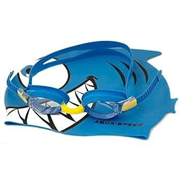 4a5bdebc8e76b Aqua-Speed ® Set Fish Swimming Goggles (Child Tinted + Fish Shark Cap UV