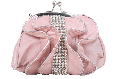 Rhinestone Band & Zip Tooth Trimmed Frill Evening Bag Color: Pink (Pink Ladies Bowling Bag)