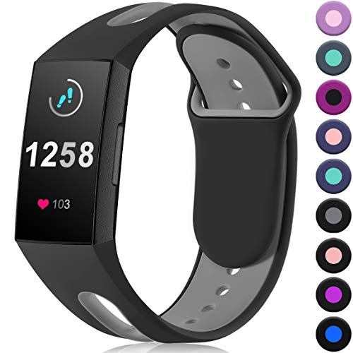 Maledan Compatible with Fitbit Charge 3 Bands, Water Resistant Breathable Accessory Sport Strap Wristbands Compatible with Fitbit Charge 3 Fitness Activity Tracker, Black Grey, Large