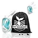 Knit Bonbons Outdoor Snorkel Mask 180° Panoramic Full Face View with Camera Mount for Kids Teen Adult Women Men, Easier Breath with Anti-Fog Anti-Leak Dry Dive Swim (Turquoise, S/M)