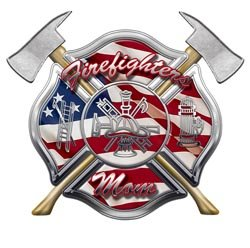 American Flag Maltese Cross Firefighters Mom Decal - 4