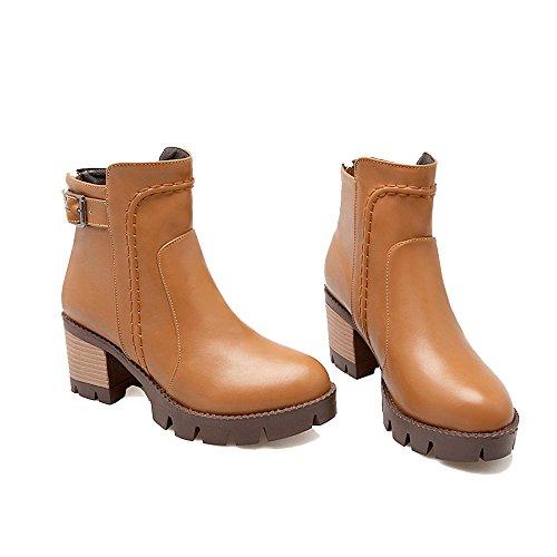 Tacco a Corti AgeeMi EuX87 a Zip Brun Scarpe Blocco Chiusa Inverno Shoes Stivali Donna wrqqYnv1X