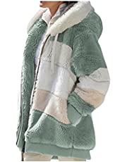 Womens Plush Hooded Sweatshirts Long Sleeve Oversized Hoodies Zip Hood Sweater Fall Winter Pullover Zipper Coats with Pocket