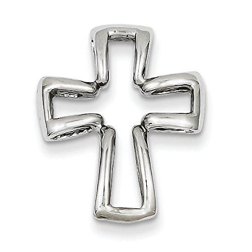 Or blanc 14 carats Pendentif croix-Dimensions 20 x 15 x 15 mm-JewelryWeb