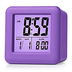 Plumeet Easy Setting Digital Travel Alarm Clock with Snooze,Soft Nightlight,Large Display Time/Date/Alarm, Ascending Sound Alarm/Handheld Sized, Best Gift for Kids (Purple)