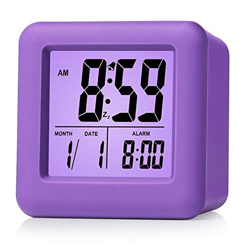 Plumeet Easy Setting Digital Travel Alarm Clock with Snooze,Soft Nightlight,Large Display Time/Date/Alarm, Ascending Sound Alarm/Handheld Sized, Best Gift for Kids (Purple)