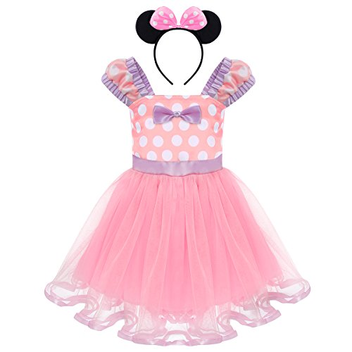 Toddler Girl Princess Polka Dots Christmas Birthday Costume Bowknot Ballet Leotard Tutu Dress Up+3D Mouse Ear Headband Light Purple Dress + Bow Ear Headband 12-18 Months -