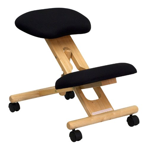 Flash Furniture Mobile Wooden Ergonomic Kneeling Office Chair in Black Fabric by Flash Furniture