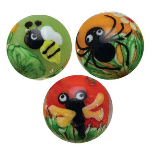 Big Game Toys~3 Spider-BEE-Dragonfly Bugs Insect Flower 16mm Handmade Art Glass Marbles