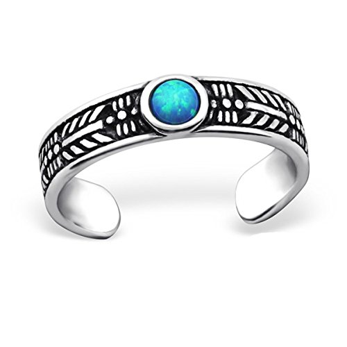 Toe Ring Sterling Silver Lab Created Opal Blue Summer Boho ()