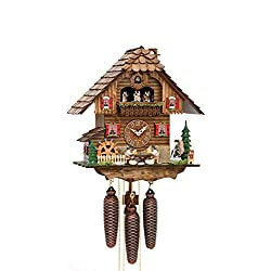 German Cuckoo Clock 8-day-movement Chalet-Style 15.00 inch - Authentic black forest cuckoo clock by Hekas