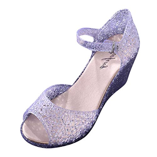 ZOMUSAR New! 2019 Womens Summer Sandals Crystal Plastic Wedges Hollow Hole Pattern Sandals