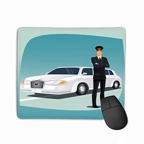 Mouse Pad Chauffeur Limousine Lincoln Driver Luxury car Such as Standing Dressed Black Suit Tuxedo Dress tie Black Leather Rectangle Rubber Mousepad 11.81 X 9.84 ()
